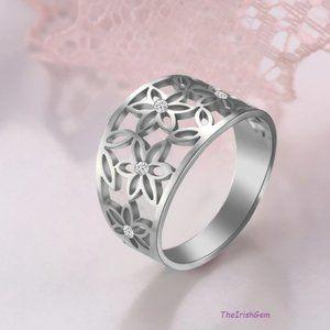Stainless Steel Flower Cluster Ring